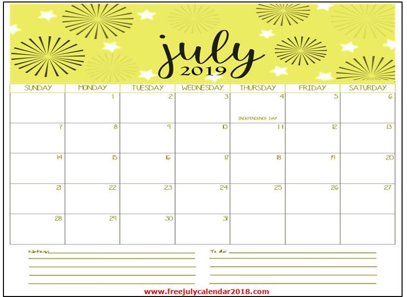 July Calendar 2019 Page
