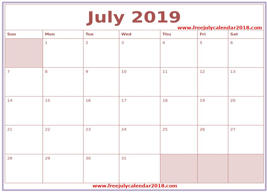 image about Printable July Calendar identify ✅ 60+ Absolutely free July 2019 Calendar Printable Blank Templates