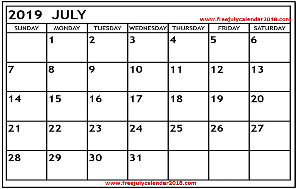 image relating to Calendar Printable With Holidays named ✅ 60+ No cost July 2019 Calendar Printable Blank Templates