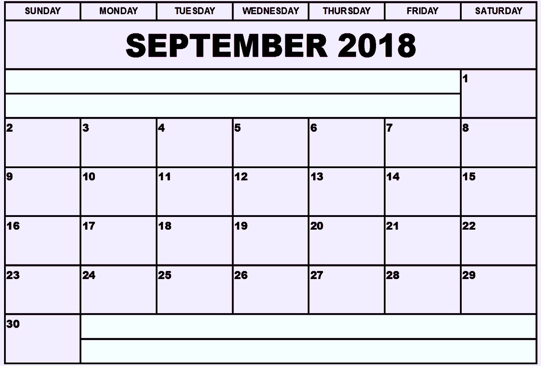 Monthly September Calendar 2018 Printable