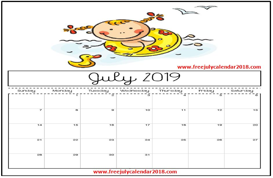 Printable July 2019 Calendar Decorative Templates For Kids