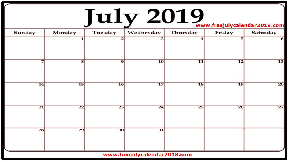 graphic regarding Free Printable July Calendar identified as ✅ 60+ Cost-free July 2019 Calendar Printable Blank Templates