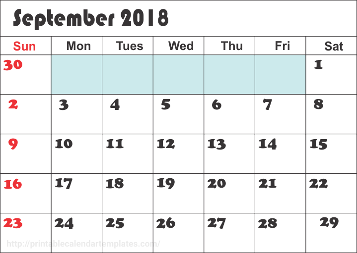 September 2018 Calendar Printable Template