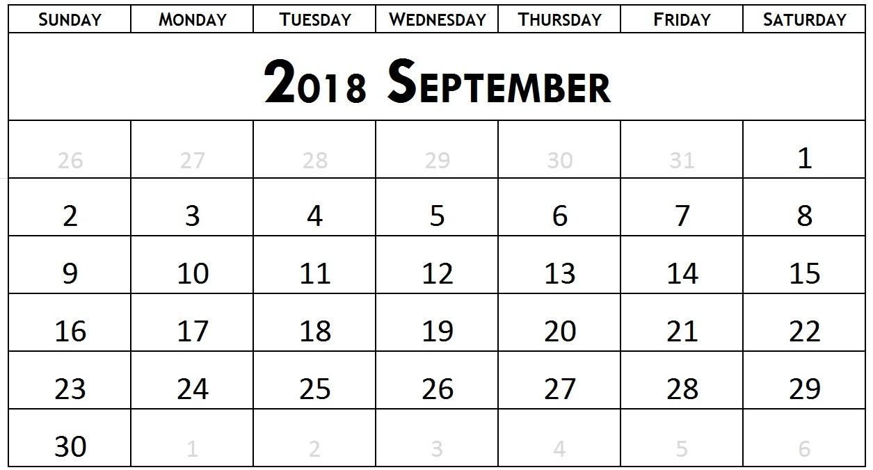 September Calendar 2018 Excel