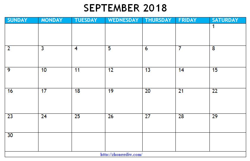 September 2018 Calendar Template A4
