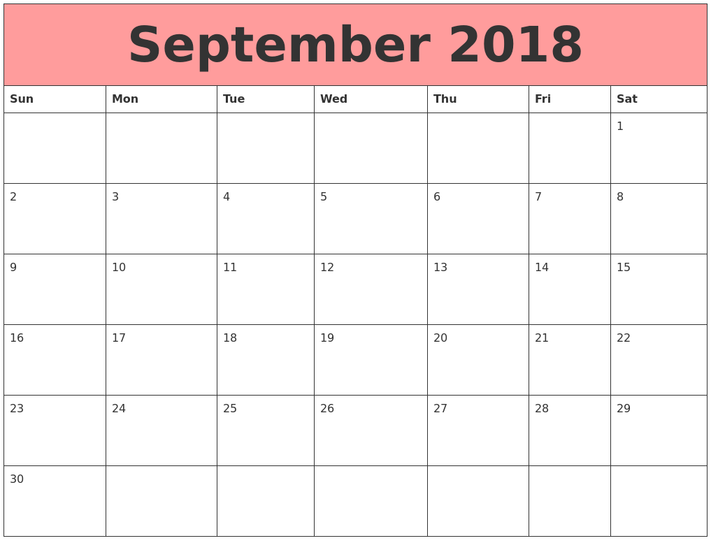 September 2018 Monthly Calendar
