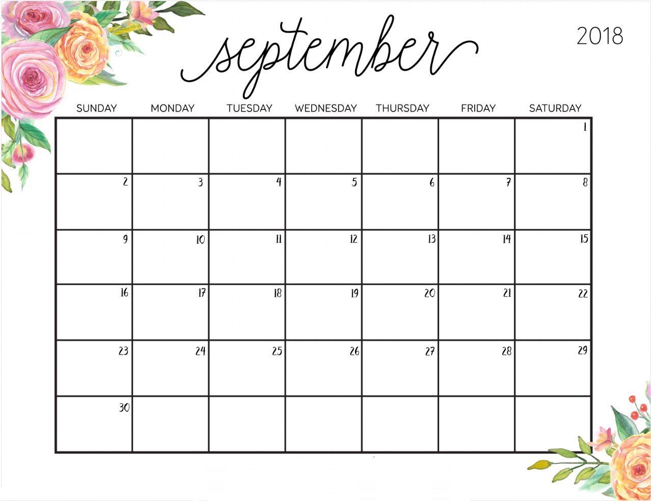 September 2018 Planning Calendar Template