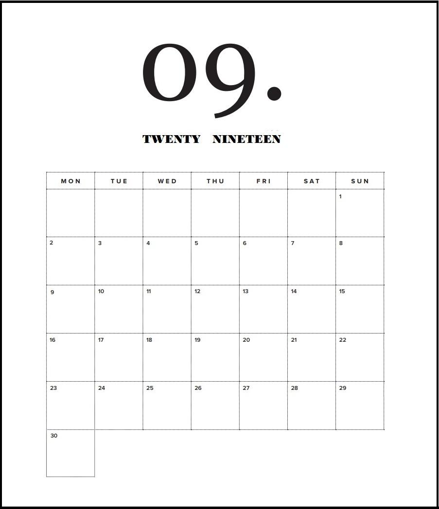 Free September 2019 Calendar Printable Blank Templates PDF Page