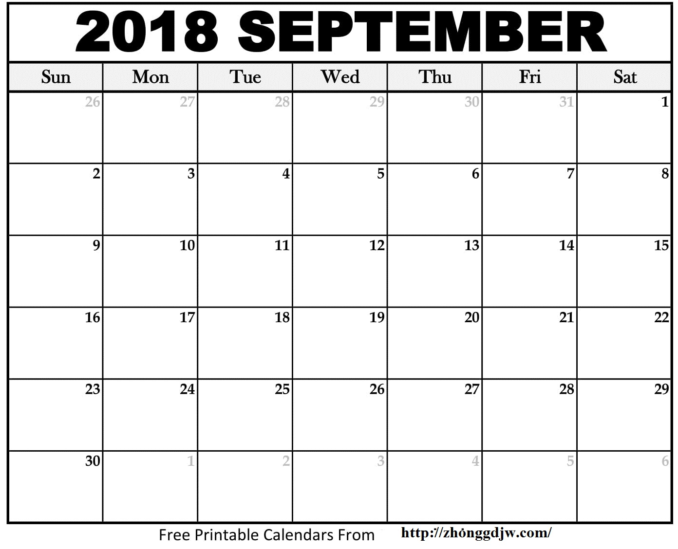September Calendar 2018