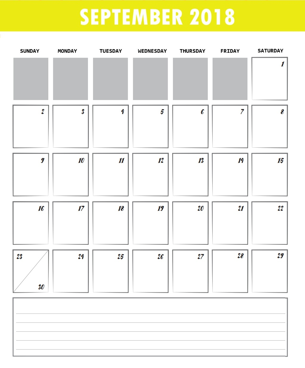 September Calendar 2018 Printable Excel