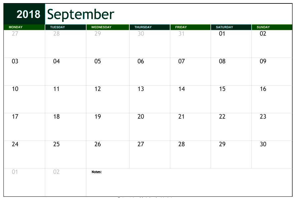 September Calendar 2018 Printable With Holidays Notes