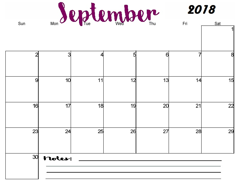 September Calendar 2018 Template Excel