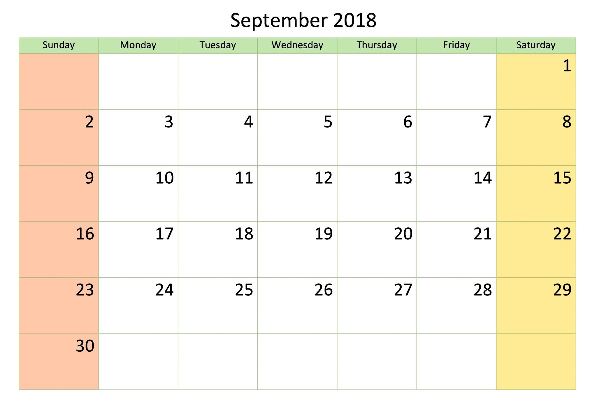 September Calendar 2018 Sheet