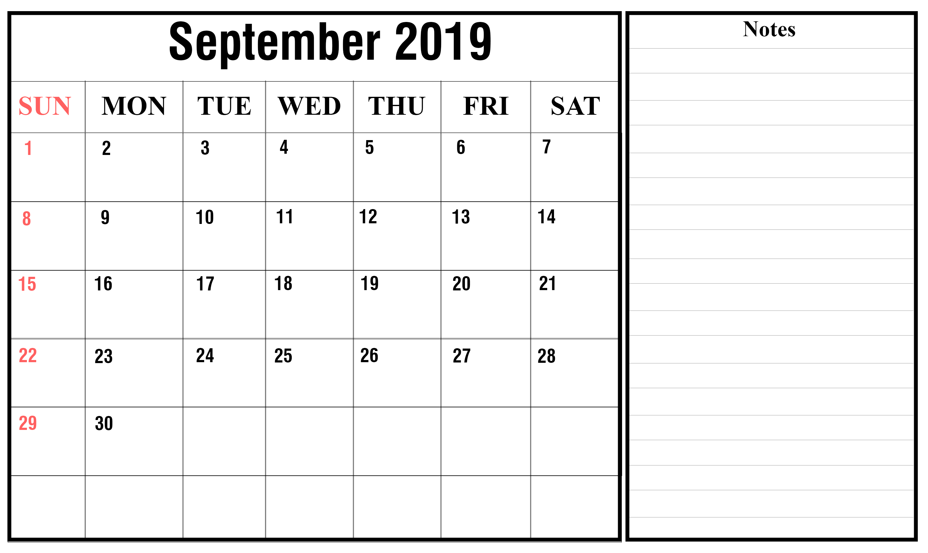 image relating to Printable September Calendar referred to as Absolutely free September 2019 Calendar Printable Blank Templates PDF Webpage