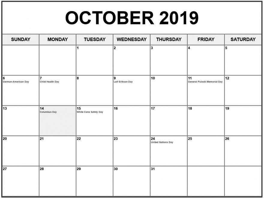 2019 October Calendar With Holidays