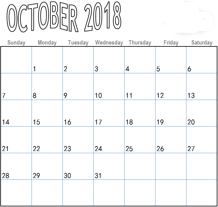 blank october 2018 calendar word doc