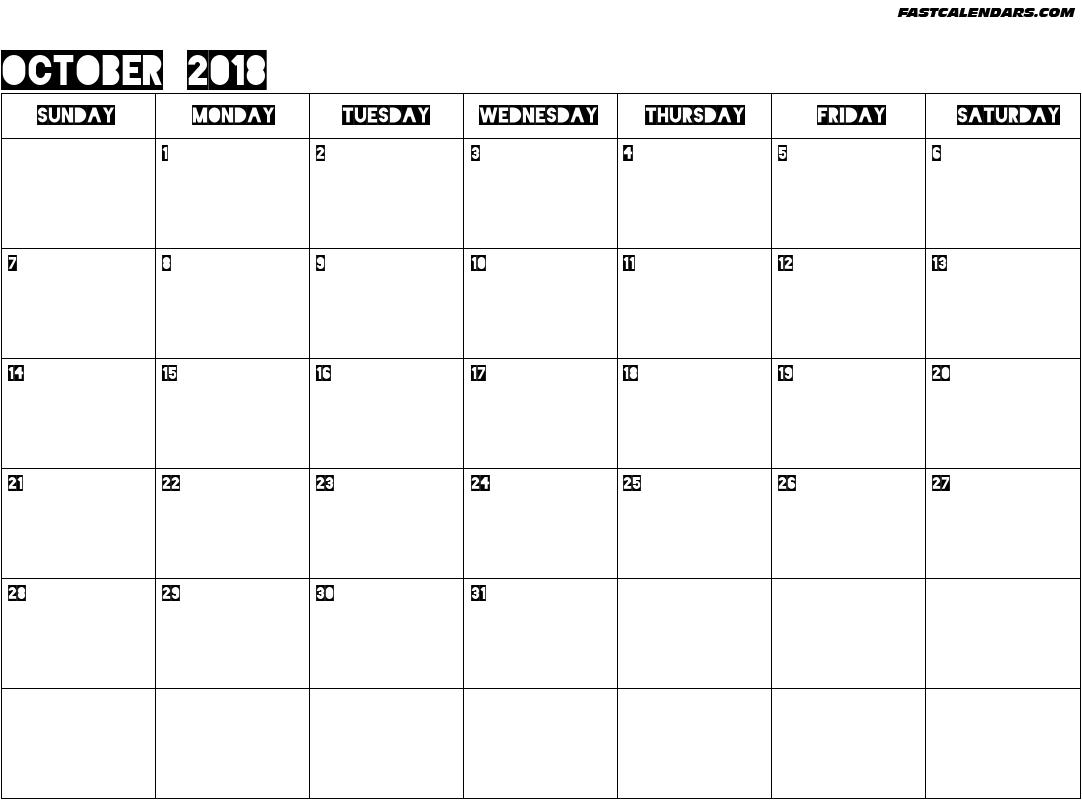 Blank Printable October 2018 Calendar