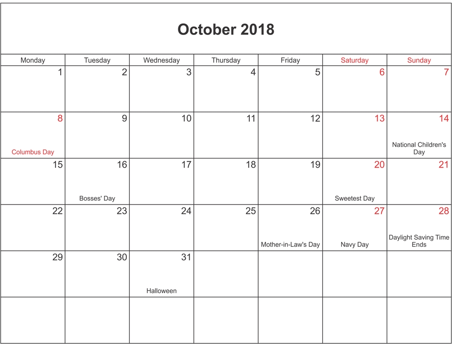 Calendar October 2018 With Holidays Printable