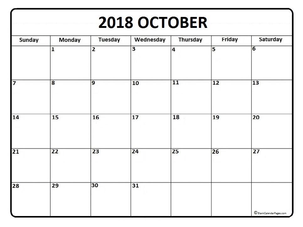 October 2018 Calendar Printable Template Blank