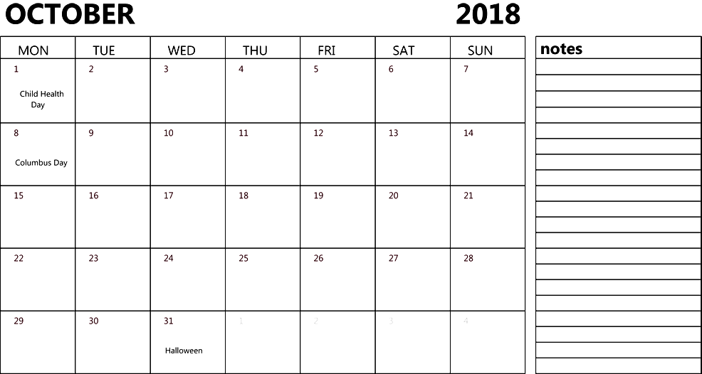October 2018 Calendar Printable with Notes