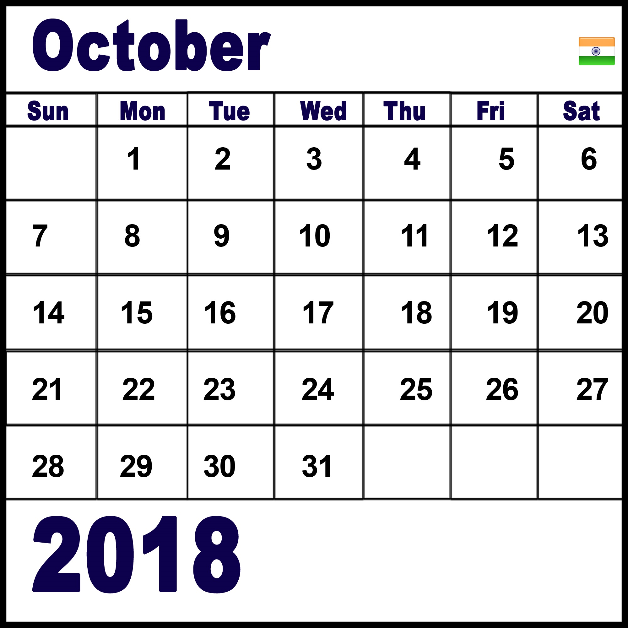 october 2018 calendar with holidays indian