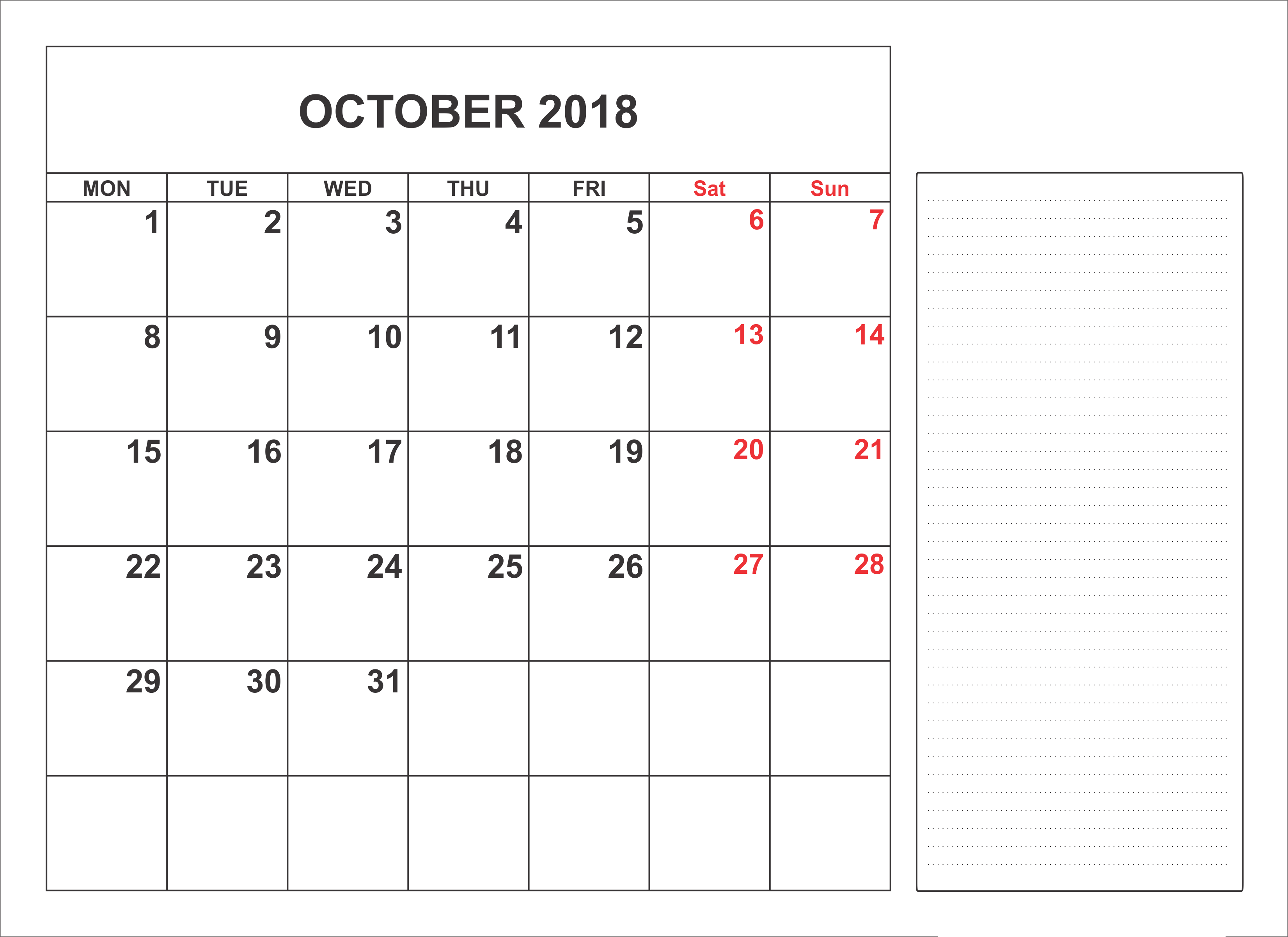 october 2018 calendar with holidays full october 2018 calendar with holidays notes full
