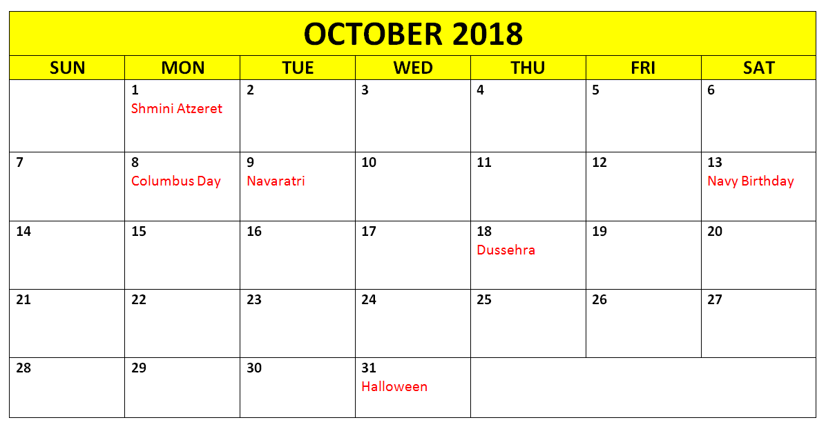October 2018 Calendar With Holidays Printable