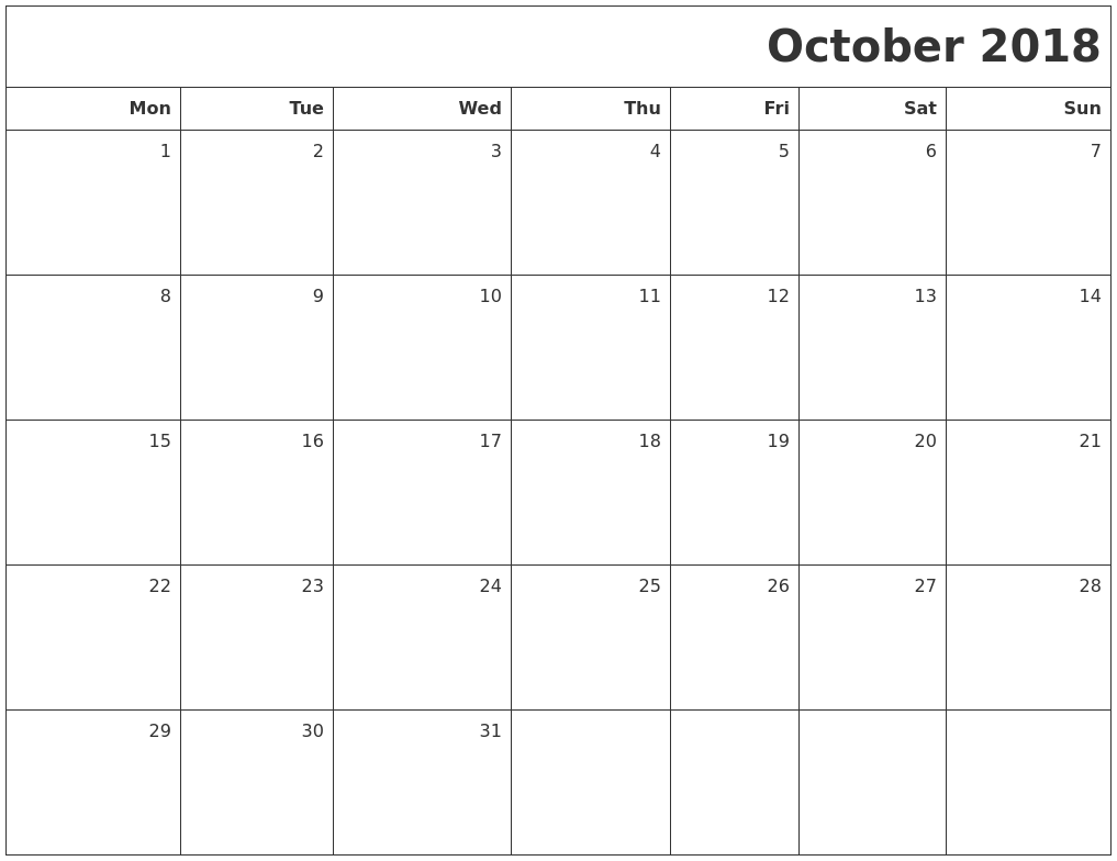 Free Printable October 2018 Calendar Templates Blank Pdf Word Page