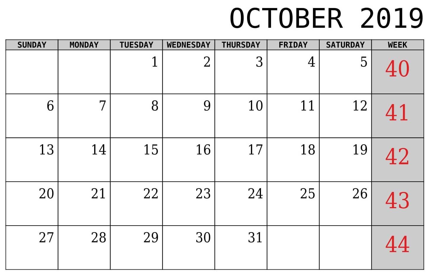October 2019 Calendar With Week Template Printable