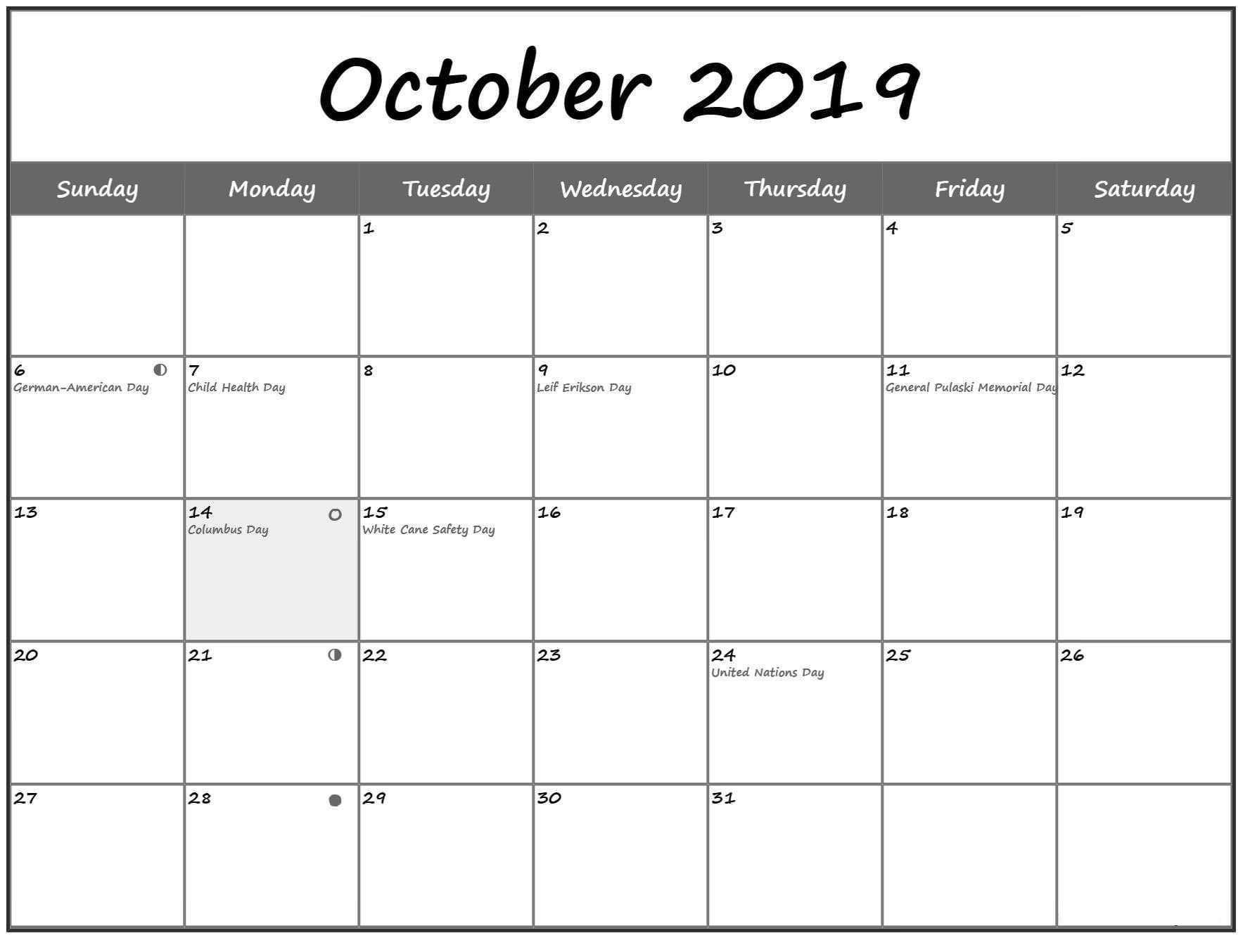 picture regarding Calendar With Holidays Printable known as Oct 2019 Calendar with Holiday seasons Printable with Notes