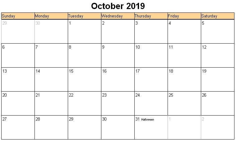 October 2019 Calendar with Holidays Australia