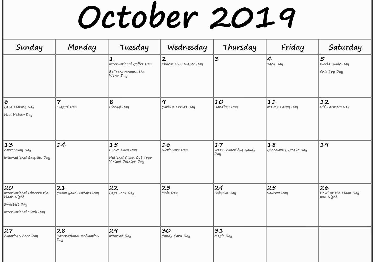 October 2019 Calendar with Holidays India