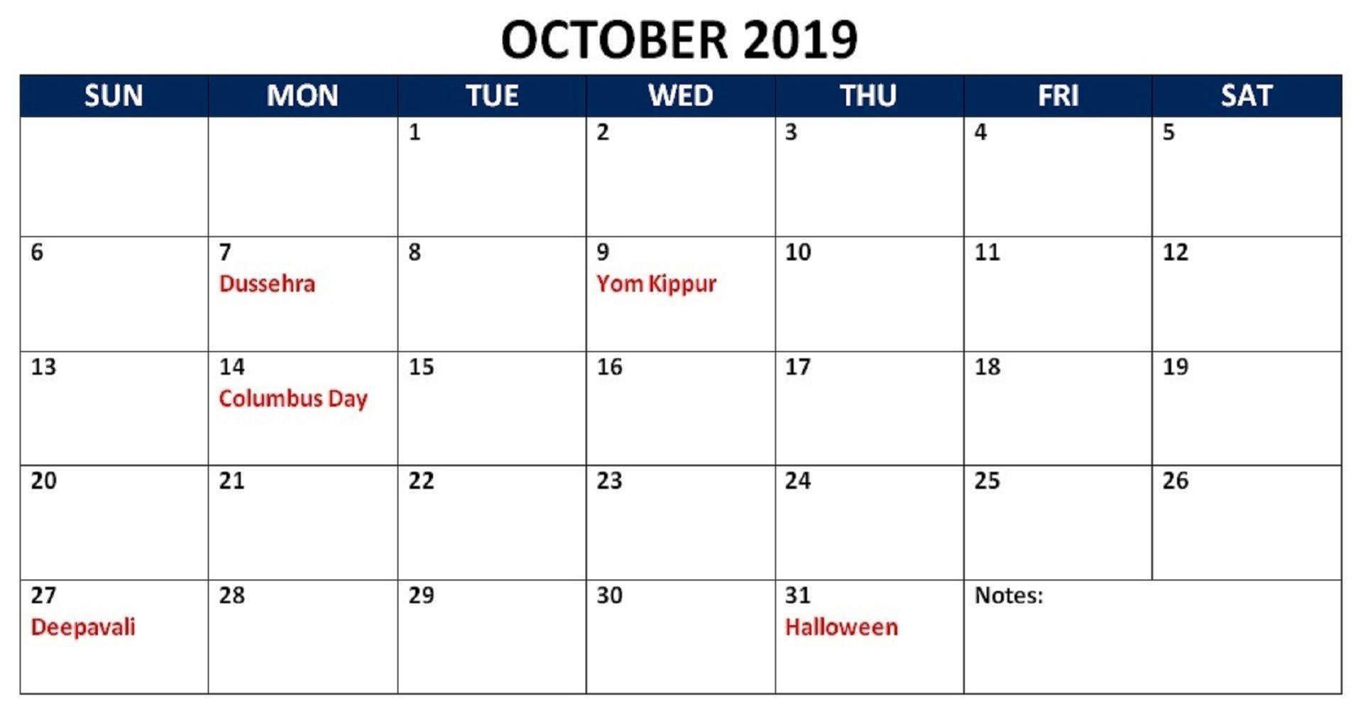 October 2019 Calendar with Holidays