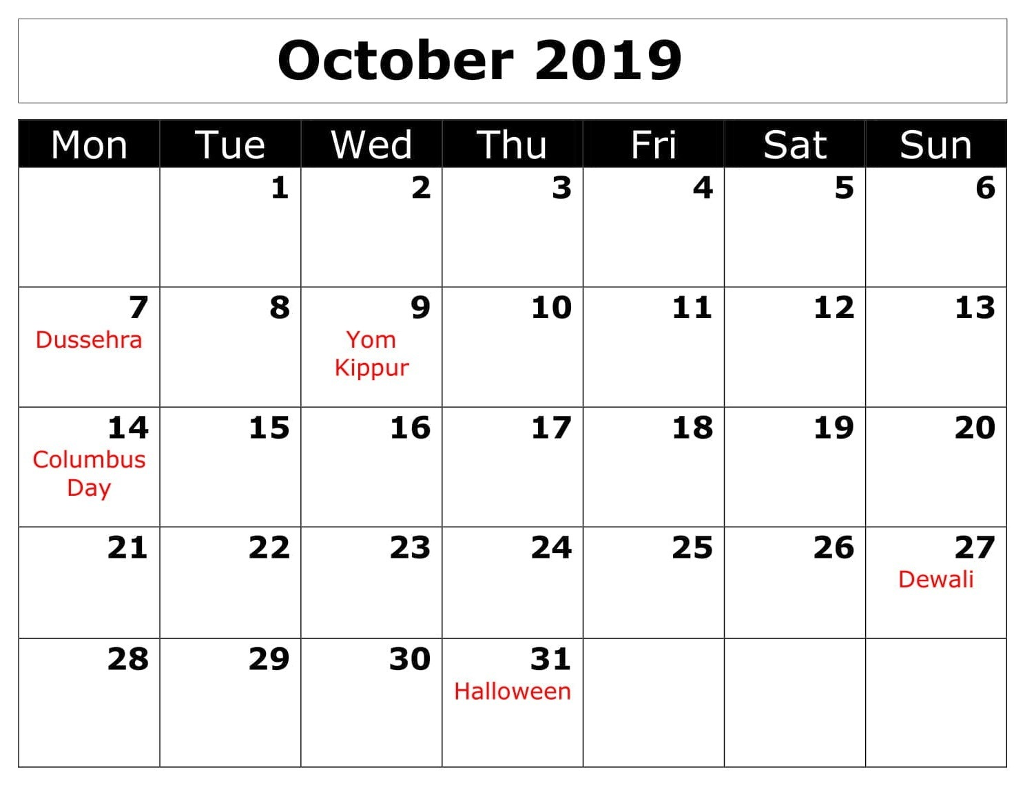 October 2019 Monthly Calendar With Holidays