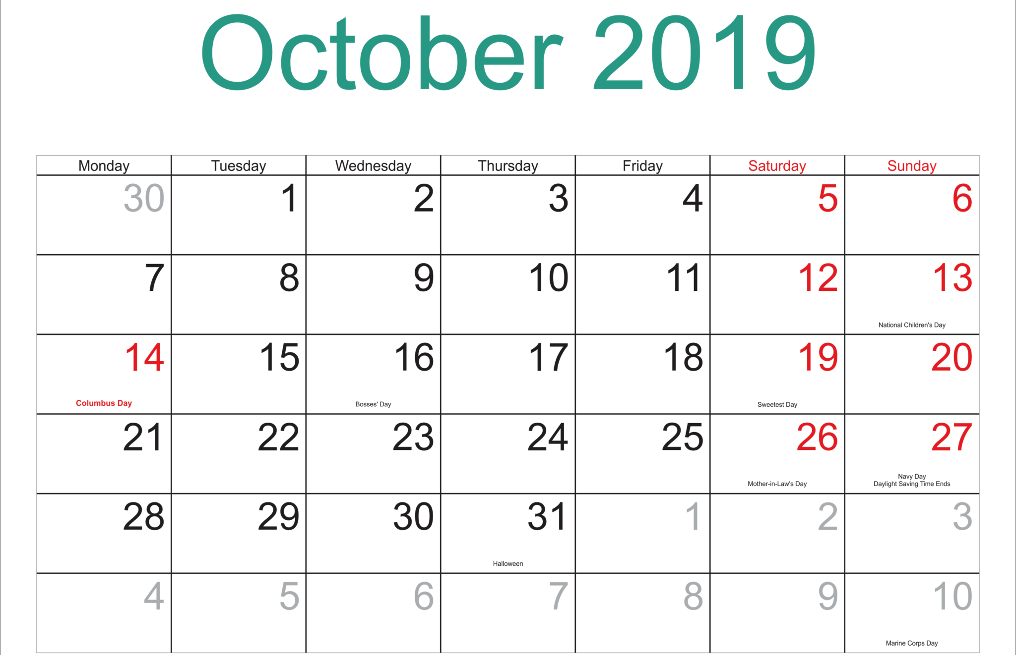 October 2019 Calendar with Holidays Printable with Notes