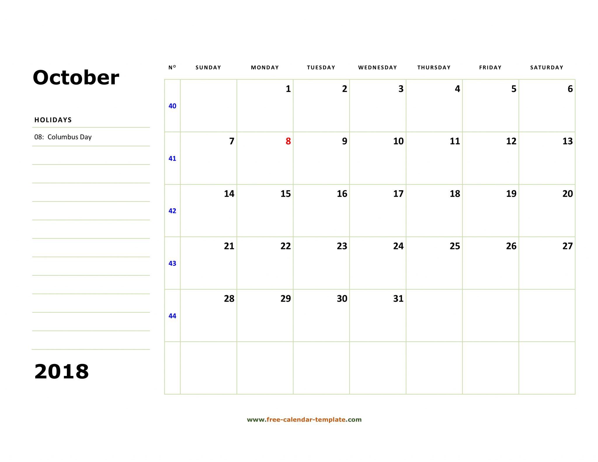 Printable Calendar For October 2018
