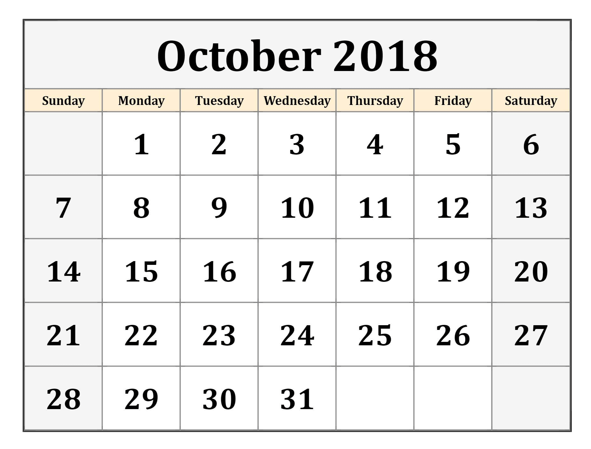 Printable October 2018 Calendar PDF