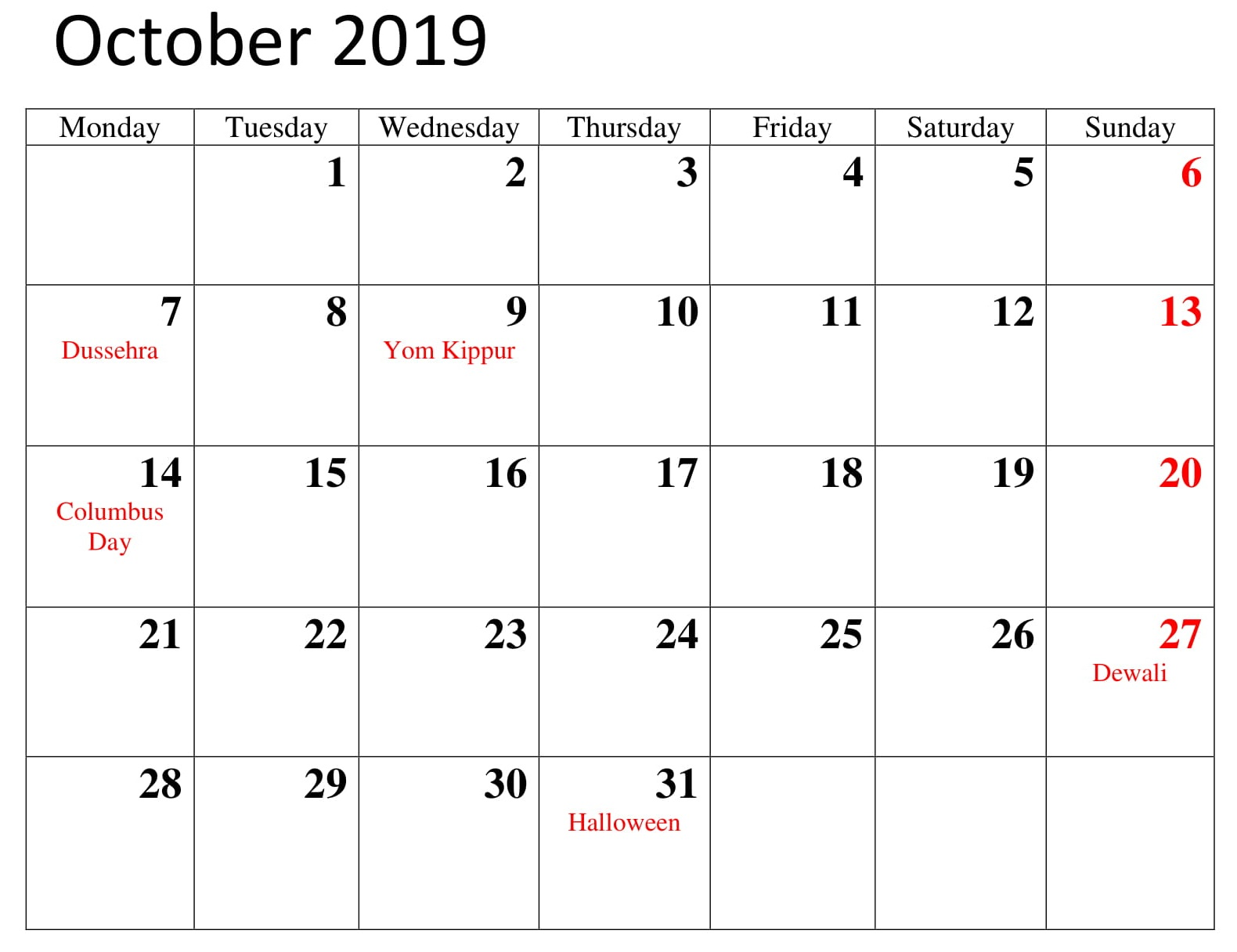 Printable October 2019 Calendar With Holidays