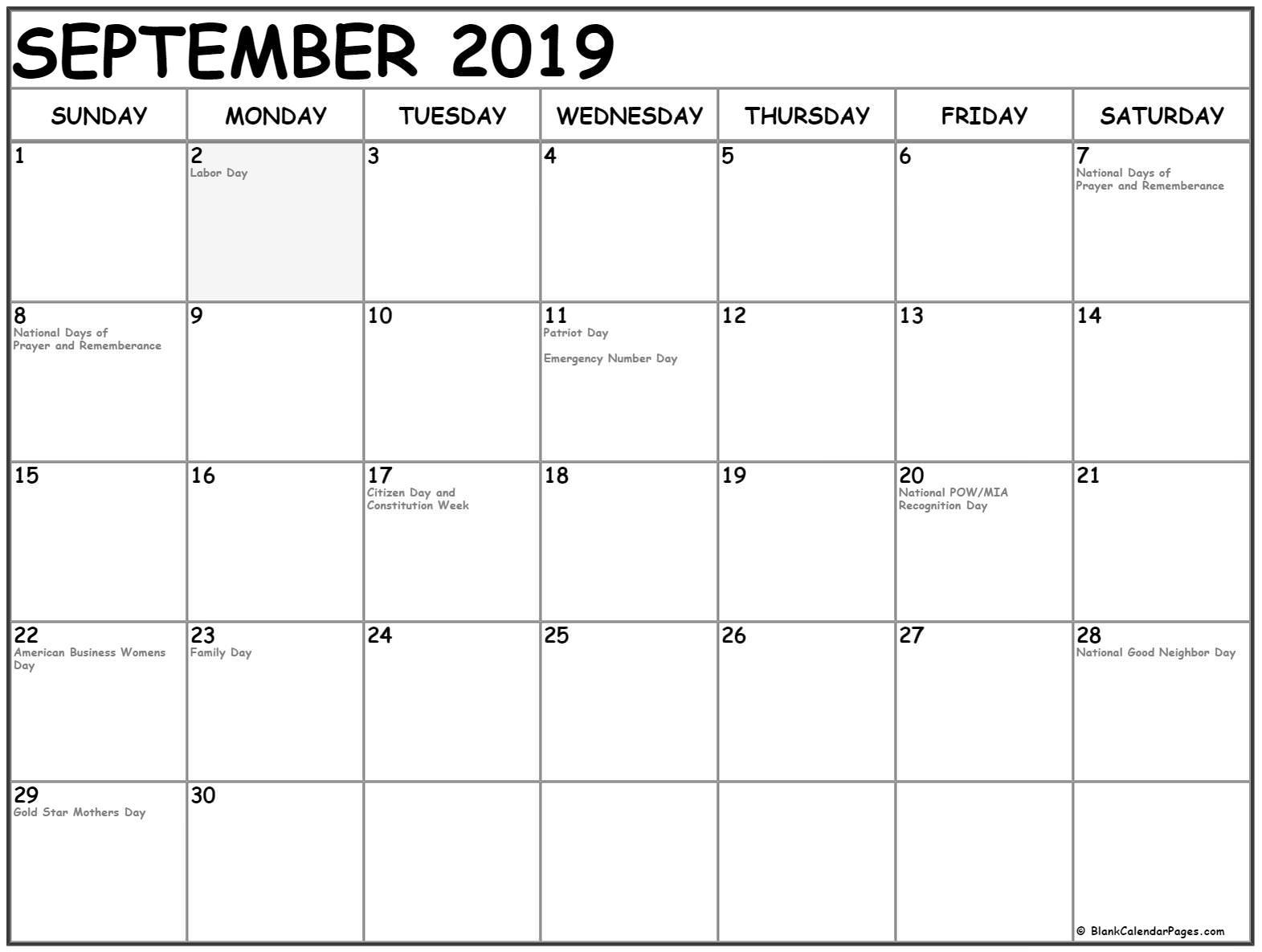 September 2019 Calendar With Holidays ✅ September 2019 Calendar with Holidays USA UK Canada with