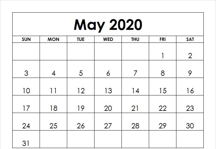 2020 Printable May Calendar