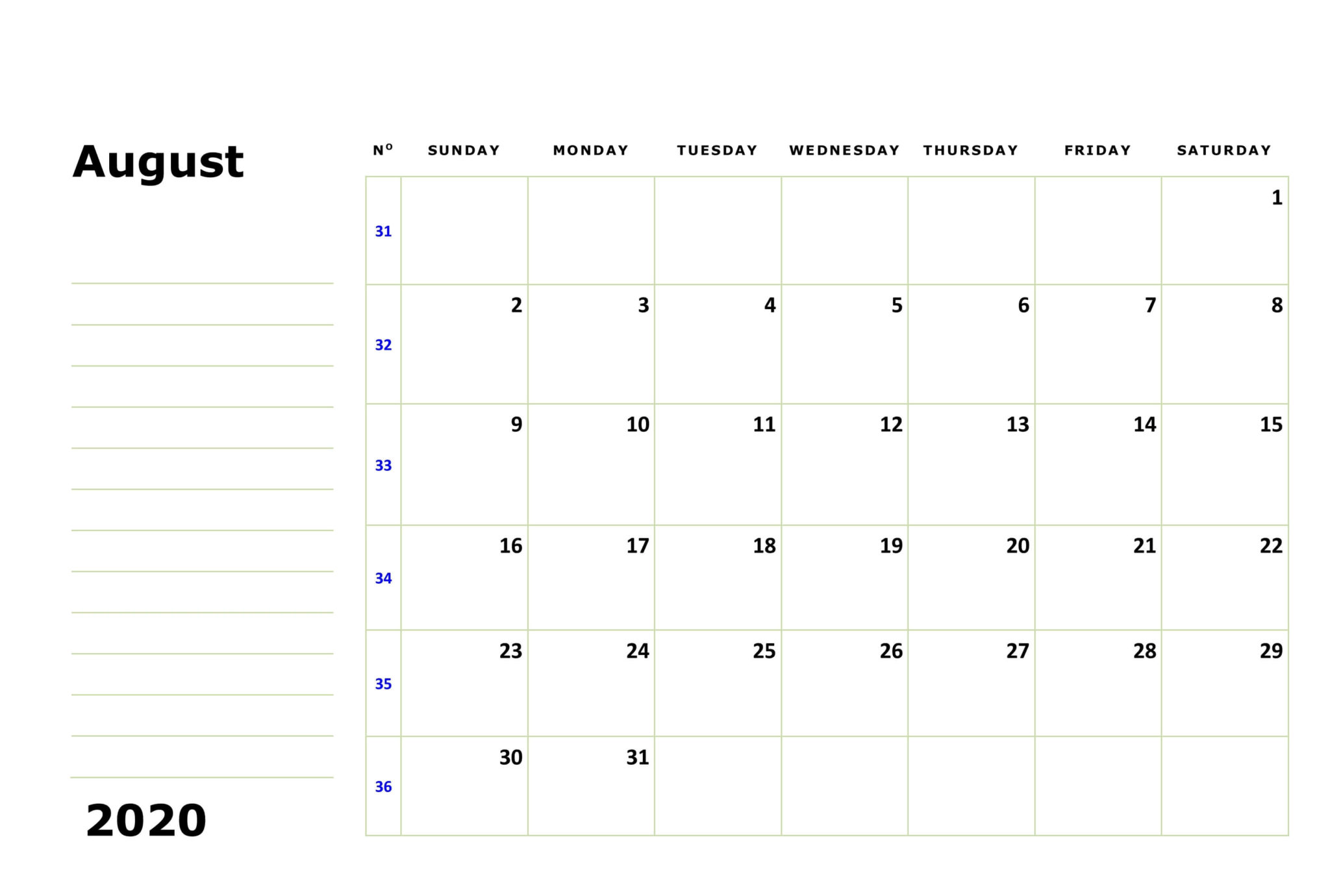 August 2020 Calendar Landscape