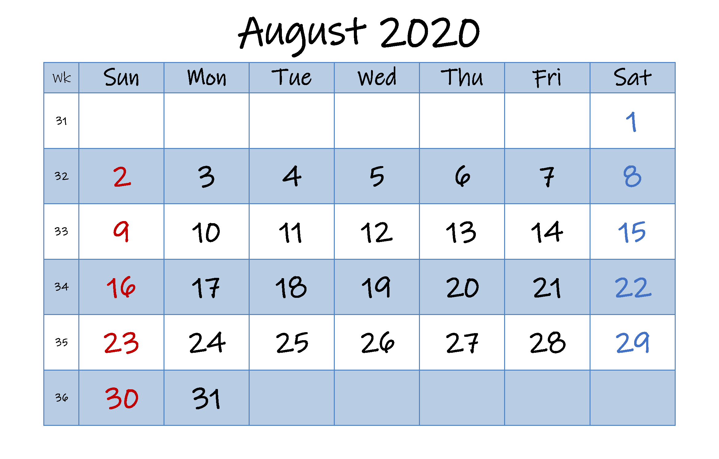 August 2020 Calendar Page