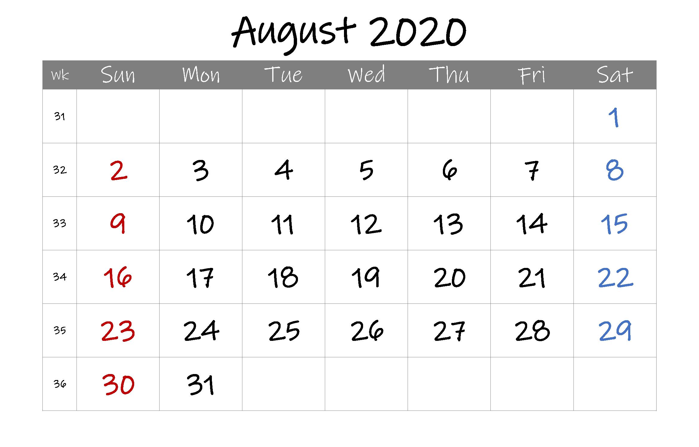 Blank Calendar Template August 2020