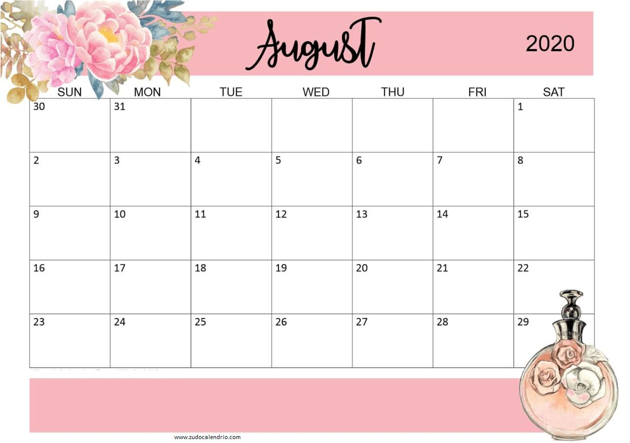 Cute August 2020 Wall Calendar
