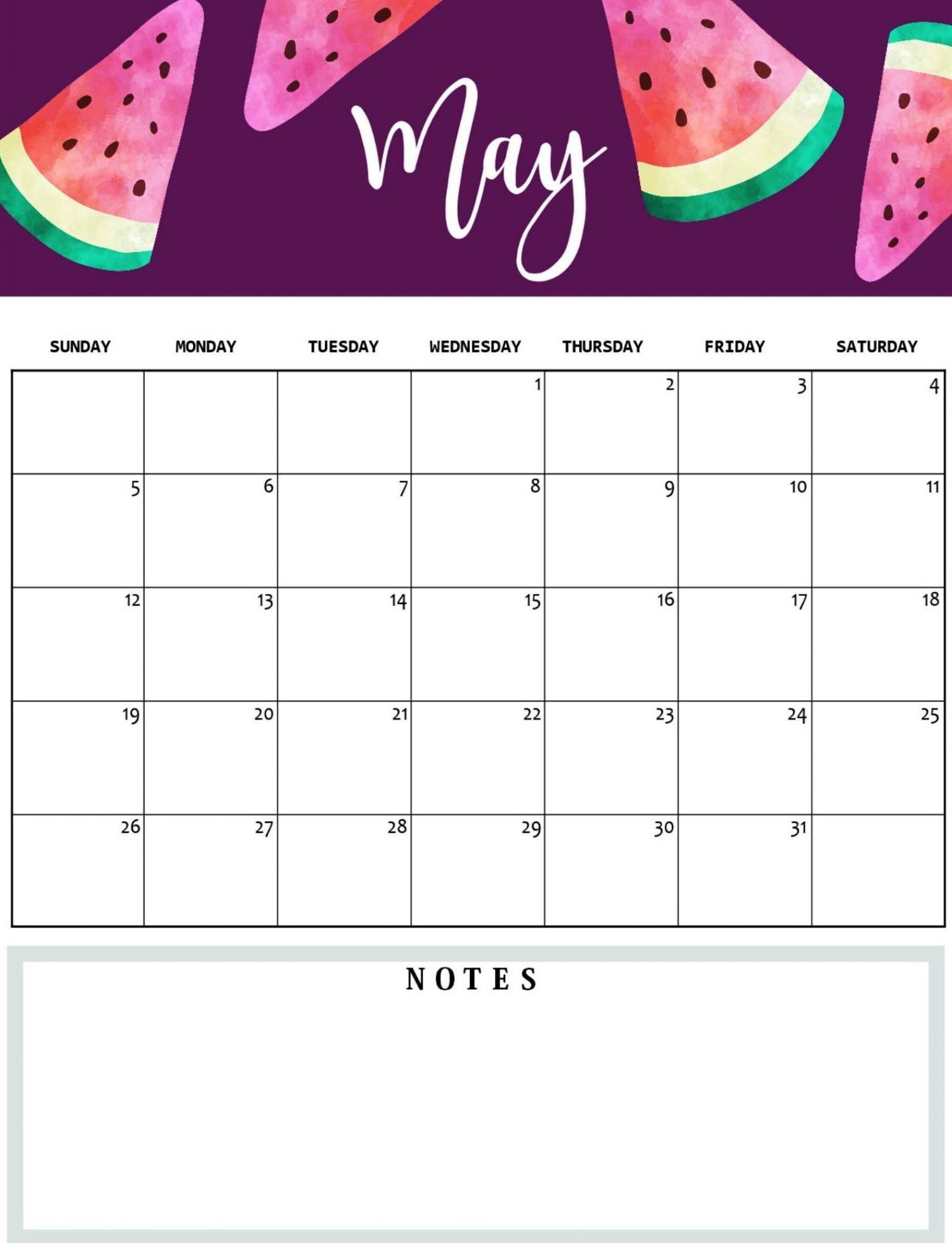 Cute May 2019 Calendar PDF Word Excel Printable Blank