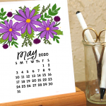 Cute May 2020 Calendar PDF Word Excel Printable Blank Template Floral Wallpaper