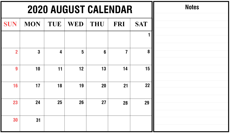 Editable August 2020 Calendar