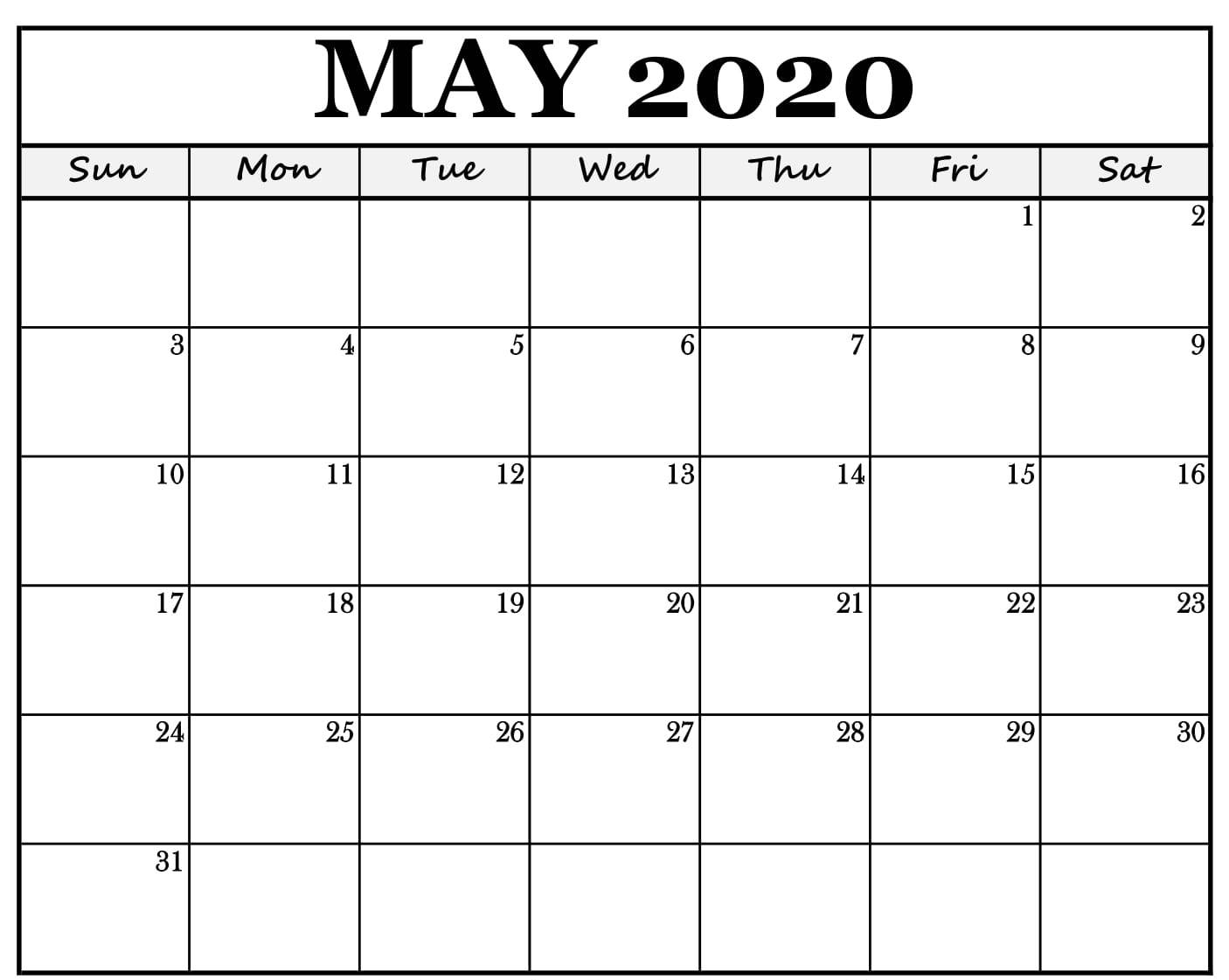 Editable May 2020 Calendar Template