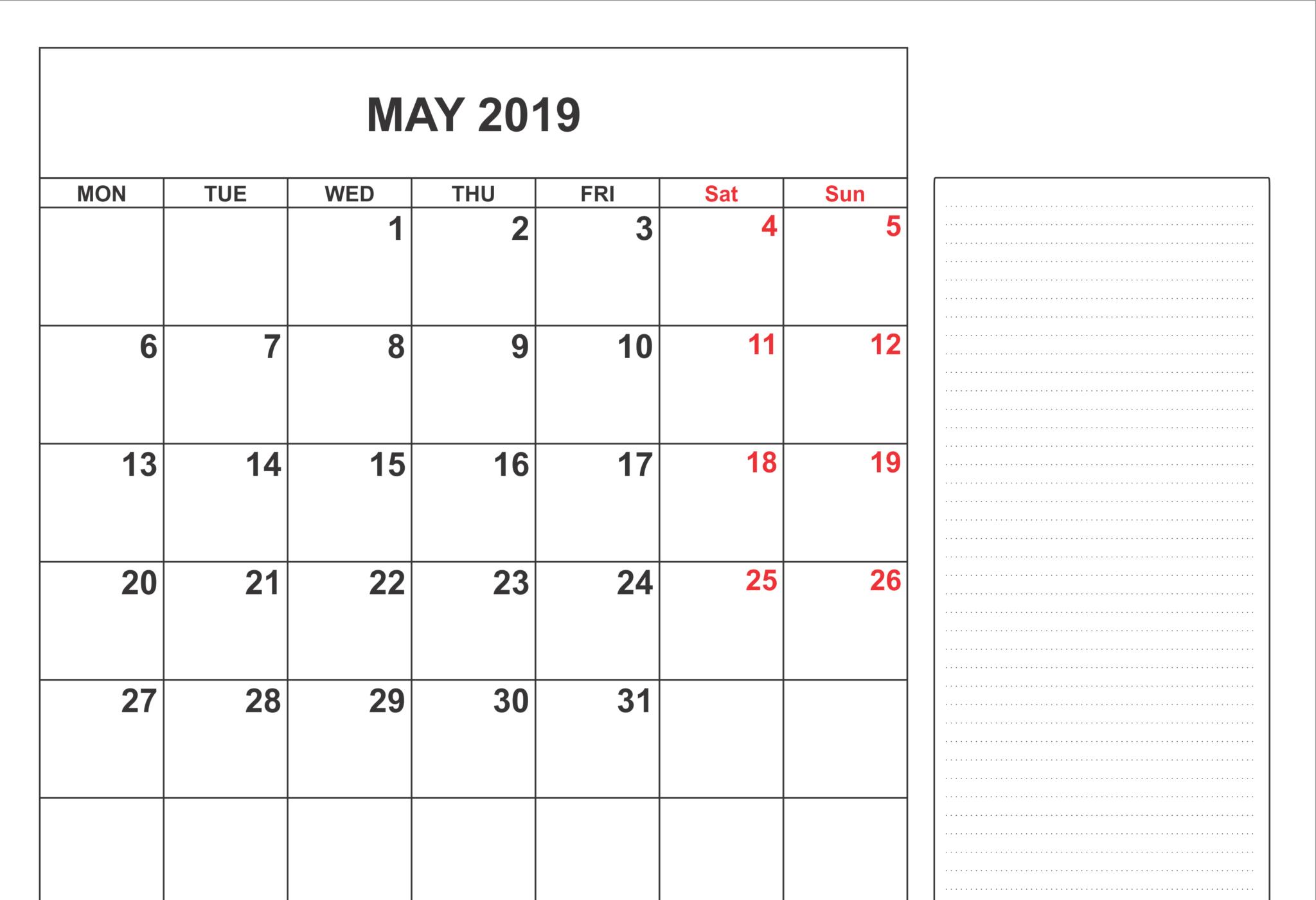 Fillable May 2019 Calendar Editable Printable Notes To Do