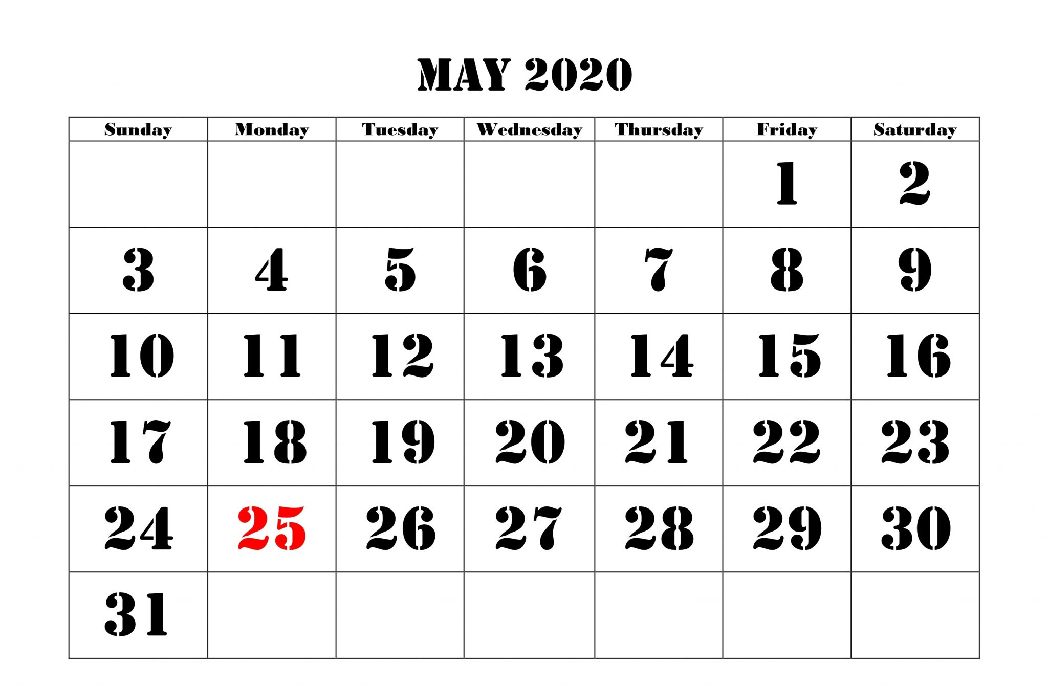Fillable May 2020 Calendar A4 Size